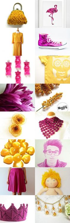 Etsy Sunrise, Etsy Sunset  by Virginia Soskin on Etsy--Pinned with TreasuryPin.com.  Golden yellow and magenta Etsy gifts for all.