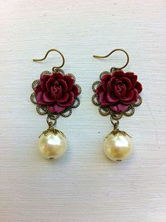 Just ordered these on Etsy!!!!!!!!! They are perfect! Maroon Earrings/Cream Pearl Earrings/Pearl by MissigirlDesigns                                                                                                                                                                                 More