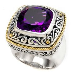 Amethyst Sterling Silver Ring with 18K Gold Accents | Cirque Jewels