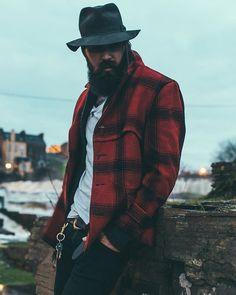 Lane Toran - full thick dark beard and mustache beards bearded man men mens' style clothing fall winter flannel plaid bearding #beardsforever #MensFashionFlannel
