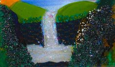 Fused Glass Spring Waterfall Landscape
