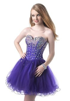 Purple Tulle A Line Homecoming Dress