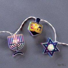 Set of 10 Holographic Star, Dreidel & Menorah Chanukah Lights - White Wire Hanukkah Crafts, Hanukkah Decorations, Hanukkah Menorah, Hannukah, Holiday Crafts, Holiday Decor, Jewish Christmas, Christmas Central, All Things Christmas