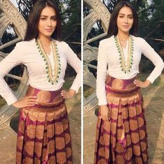 Celeb Spottings Never thought our statement kundan mala could look that fantastic on a shirt with Beautiful Kick starting Promotions in Hyderabad Jewellery styled by & Indian Skirt, Dress Indian Style, Indian Dresses, Indian Outfits, Indian Attire, Indian Wear, Mode Bcbg, Mehendi Outfits, Party Kleidung