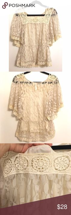 Lace Peasant Blouse 💕 So cute for any season! Cream / ivory color with solid tank top underneath, but can be removable. Perfect condition! No trades! Tops Blouses