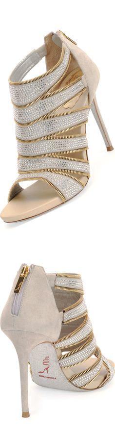 Rene Caovilla Strass & Zip-Trim Suede Bootie. Via @creccord. #ReneCaovilla #heels