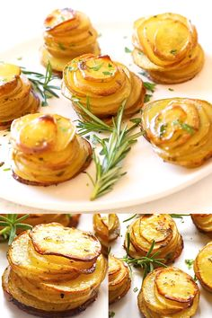 Crispy Potato Stacks - Crazy delicious stacked potatoes with garlic butter and herb. The BEST recipe potatoes ever. Best Dessert Recipe Ever, Best Dinner Recipes Ever, Best Potato Recipes, Best Food Ever, Best Dessert Recipes, Desserts, Potato Appetizers, Appetizer Recipes, Food Network Recipes