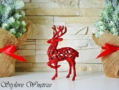 Świąteczna Figurka Renifer Czerwony Mały