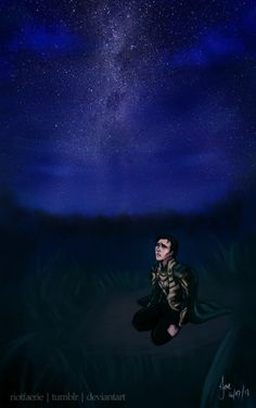 """It was a year after she died but loki always visited there favorite place to go on their wedding anniversary. He would look up at the stars and say """"happy anniversary my sweet sigyn.""""  Tears trickled down his cheek the North Star twinkling brighter than ever he smiled """" sigyns star ."""""""