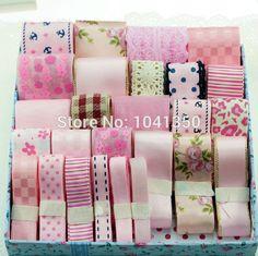 11,97€ envío gratis 28 metros 28 estilo mixto rosa serie impresa grosgrain/cinta de raso conjunto de encaje/cinta de organza