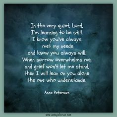 grief, be still, sorrows overwhelm, lean on God, Anne Peterson, poetry, loss, He understands  www.annepeterson.com