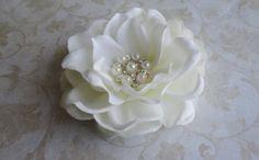 Bridal Antique White Fascinator Hair Clip w/ Pearl & Rhinestones, Womens Flower Clip, Special Occasion. $16.95, via Etsy.