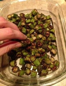 Paleo Crispy Roasted Okra - coconut oil, s&p, & garlic salt @ 450 degrees for 25mins. so good