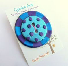 BIG Button Oversized Handmade Colourful Button by CyndraArts, £5.99