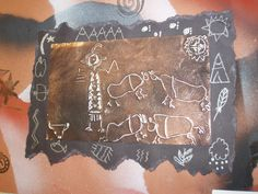 5th grade native american petroglyphs with foil tooling