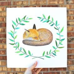 """I just received this lovely stretched canvas print of """"Sleepy Fox"""" compliments of @canvasfab. I am considering offering canvas prints for some of my work in the future- is that something you would like to see in my shop? I would love hear your feedback thanks!  Also stay tuned for an exciting double artist giveaway with @kendra.openspaces details coming tomorrow : ) by jahernart"""