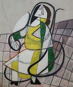"""Pablo Picasso - """"Le Rocking-chair"""", 1943 Huile sur toile - 161 X 130 cm Centre Pompidou Paris. Kunst Picasso, Art Picasso, Picasso Paintings, Picasso Portraits, Time Painting, Painting & Drawing, Musée National D'art Moderne, Centre Pompidou Paris, Georges Pompidou"""