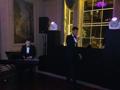 Matthew and his piano player getting ready to perform the first dance for a wedding in Home House in central London.