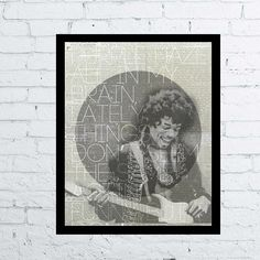 Jimi Hendrix Poster Printable home wall art decor / poster  Jimi Hendrix rock song quote digital typography poster for home decor, music