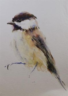 "Daily Paintworks - ""Chickadee Sketch"" by Sue Churchgrant"