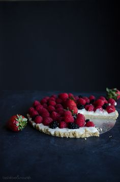 Mixed Berry Tart - my whole family loves this light dessert! Unbelievably vegan and gluten-free with a delicious nutty crust!