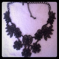 Lace look black metal necklace. Lace look black metal necklace with adjustable length. Jewelry Necklaces