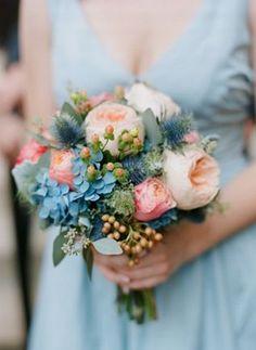 light blue hydrangea, baby's breath and peach peony