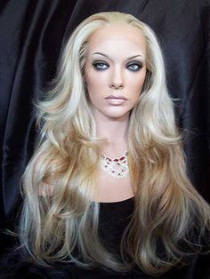 Raquel Lace Front Wig in Strawberry Blonde with Pale Blonde Highlights. To Be Seen On Season 3 of RuPaul's Drag  U