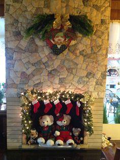 Decoração de Natal na lareira