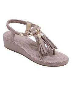 Purple Tassel Leather Sandal