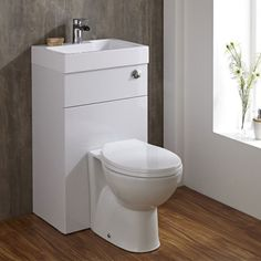Providing you with the perfect space-saving solution for a small bathroom, cloakroom or ensuite, the Milano Linton Combination Toilet and Basin Unit offers a neat and tidy finish that is clean, stylish and modern. Complete with a back-to-wall t Space Saving Toilet, Space Saving Bathroom, Small Toilet Room, Compact Bathroom, Bathroom Toilets, White Bathroom, Bathroom Shop, Bathroom Basin, Bathroom Storage
