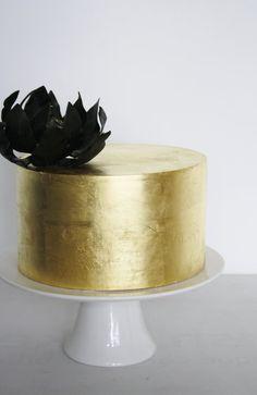 Gold Leaf with Black Magnolia - by DevilishCakesKiama @ CakesDecor.com - cake decorating website