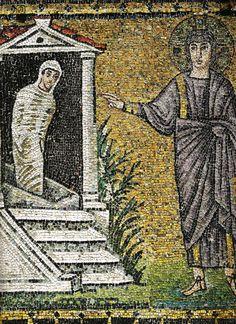 S. Apollinare Nuovo Resurr Lazzaro - Wonderen van Jezus - Wikipedia De opwekking van Lazarus, mozaïek uit Ravenna