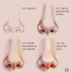 Painting a nose can be tough, here's a little step by step 👍😊 ⚠️Painted in Photoshop using a Wacom drawing tablet⚠️ madewithwacom… Source by - Digital Art Fantasy, Abstract Digital Art, Digital Art Girl, Digital Paintings, Digital Painting Tutorials, Digital Art Tutorial, Art Tutorials, Drawing Tutorials, Drawing Ideas