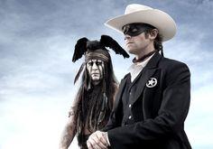 Johnny Depp as Tonto in Gore Verbinski's 'Lone Ranger' and Arme Hammer as John Reid (aka The Lone Ranger)
