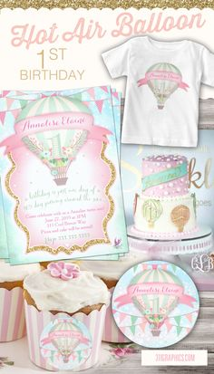 Hot Air Balloon themed first birthday party, girl's first birthday, hot air balloon, first birthday ideas, 1st birthday ideas