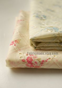 Floral Cotton Fabric Embroidered Shabby Chic Pink Blue Flower Beige With Yard