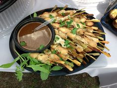 Ashley Farm Chicken Sate w/ peanut sauce for a surprise birthday party for Jamie co-owner of local 1110! What an honor to be a part of this great event with Alysse Sweeney From Morgan Gallo Events. Catered by Thrive Catering, Savannah, Ga.