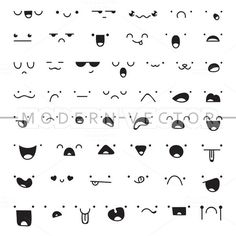 Set 50 different doodle emotions by Modern vector . - Set 50 different doodle emotions by Modern vector … – Set 50 different doodle emotions by Modern vector … – - Kawaii Drawings, Doodle Drawings, Easy Drawings, Emoji Drawings, Doodle Illustrations, Griffonnages Kawaii, Kawaii Faces, Kawaii Doodles, Cute Doodles