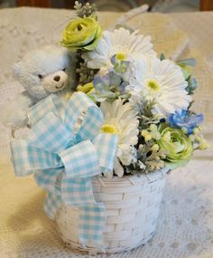 Rock a Bye Teddy (in blue) - Premium Silk Floral Arrangement for Baby shower or new mom