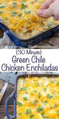 Green Chile Chicken Enchiladas {made in just 30 minutes!} get the recipe at bare… Green Chile Chicken Enchiladas {made in just 30 minutes!} get the recipe at barefeetinthekitc… Casserole Enchilada, Green Chicken Enchilada Casserole, Green Enchilada Sauce, Enchilada Recipes, Casserole Recipes, Green Chilli Chicken Enchiladas, Rotisserie Chicken Enchiladas, Chicken Chile, Mexican Enchiladas