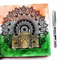 A little delayed but here is my next prompt in - famous monument. I went with Gateway of India and a dash of tricolor. Hope you like it! Doodle Art Drawing, Cool Art Drawings, Mandala Drawing, Mandala Art Lesson, Mandala Artwork, Independence Day Drawing, Indian Flag Images, Bird Paintings On Canvas, India Poster
