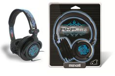 Maxell Amplified Headphones with Blue Tribal Design   FEATURES:  Lightweight, foldable DJ style design  Powerful heavy bass provides clear crisp sound  Ear cushions provide long lasting comfort  40 mm Driver