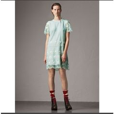 Burberry Short-sleeve Embroidered Tulle T-shirt Dress (256765 RSD) ❤ liked on Polyvore featuring dresses, sheer flower dress, short sleeve t shirt dress, scalloped dress, short sleeve dress and transparent dress