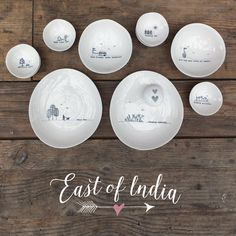 ‪Porcelain plates and bowls with simple designs and inspirational words! ‬  ‪#inspirational #gifts #cute #giftware ‬