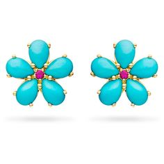 Paul Morelli Small Turquoise Petal Button Earrings with Rubies ($1,700) ❤ liked on Polyvore featuring jewelry, earrings, paul morelli earrings, cabochon jewelry, paul morelli, round earrings and ruby jewellery