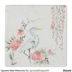 Japanese Style Watercolor Crane and Flowers Stone Coaster