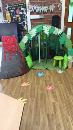 Dinosaur Cave and Volcano Dinosaur Classroom, Dinosaur Theme Preschool, Dinosaur Activities, Dinosaur Crafts, Preschool Activities, Dinosaur Dinosaur, School Decorations, School Themes, Classroom Themes