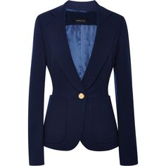Derek Lam Navy Double Knit Blazer ($1,790) ❤ liked on Polyvore featuring outerwear, jackets, blazers, navy blazer, patch jacket, blue jackets, long sleeve blazer and navy blue blazer