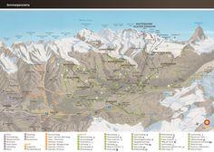 Summer panorama map of Zermatt, Switzerland